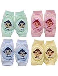 Sannysis 4 Pares de Rodilleras bebe para gatear calcetines de arrastre antideslizantes