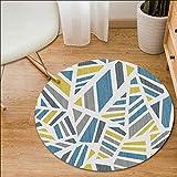 HJYL Tapis Rond Moderne Géométrique Minimaliste Tapis Bleu Et Jaune Salon Chambre...
