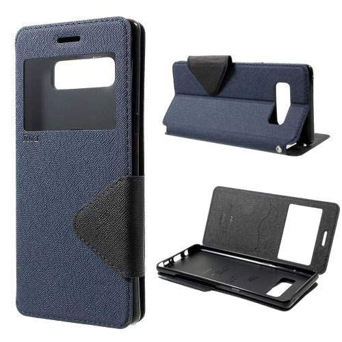 jbTec Flip Case Handy-Hülle zu Samsung Galaxy Note 8 / SM-N950 - Fancy Diary Book ZWEIFARBIG - Handy-Tasche Schutz-Hülle Cover Handyhülle Ständer Bookstyle Booklet, Farbe:Navy-Blau