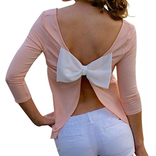 Sannysis Frauen Backless T-Shirt 3/4 Arm Bluse (S, Rosa)