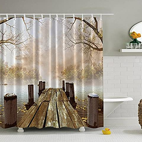 Yooyoo Ocean Décor Fall pont en bois saisons Maison peintures de salle de bain Rideau de douche 180x 180cm