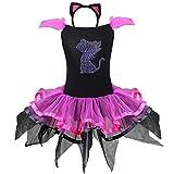iEFiEL Déguisement Chat Enfant Filles Justaucorps + Serré-tête Costume Carnaval 2-8 Ans Noir 5-6 ans
