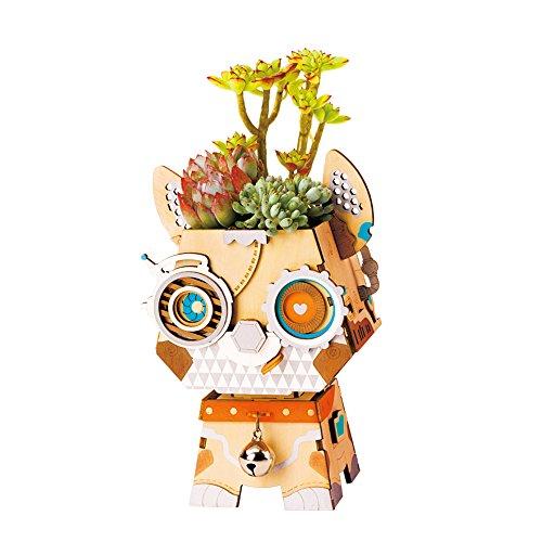 Rolife 3D Holz Puzzle Blumentopf Holz Blumentopf Geburtstag Weihnachten Geschenke für Kinder und Adults-Pot Puppy