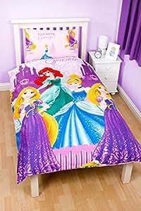 parure de lit housse de couette reversible 1 taie d oreiller princesse disney 1 personne. Black Bedroom Furniture Sets. Home Design Ideas