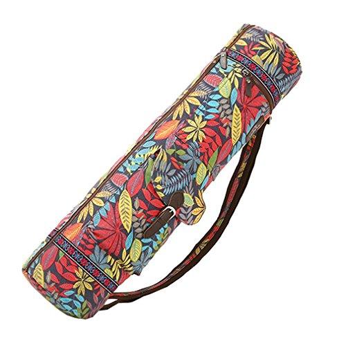 qees Wasserdicht Yoga Matte Tasche Schutzhülle mit Blättern Print auf verstellbaren Gurt 28L * 6.9D Zoll yjbd01, rot