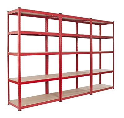 3 bay Warehouse Racking 5 Tier Shelving Heavy Duty 265kgs per Shelf