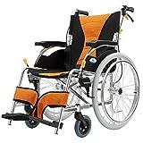 Rollstuhl Bequemer Leichter Transport Faltender Tragbarer Reise-Stuhl Starke Aluminiumlegierung Ältere Behinderte Schubkarre-Rollstuhl-Orange