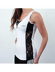Boxing Bielastica Club-Camiseta con Corazón de Encaje Lateral-Verano de 2016 Mujer, blanco, L