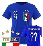 Comedy Shirts - WM 2014 - ITALIEN - VORNE und HINTEN - WUNSCH - Herren T-Shirt - Royalblau Gr. XXL