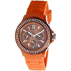 Nuvo - NU 137 - Armbanduhr für Damen - Quartz - Analog - Orangefarbenes Armband aus Silikon - Swarovski Elemente und Diamanten - Modisch - Elegant - Stylish -