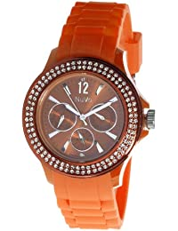Nuvo - NU137 - Montre Femme - Quartz - Analogique - Bracelet Silicone Orange - Swarovski elements et diamant