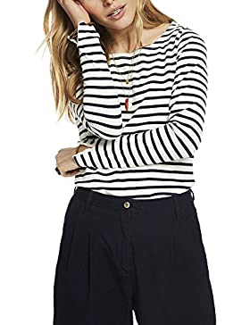 Scotch & Soda Basic Fit Breton Stripe L/S tee, Camiseta para Mujer