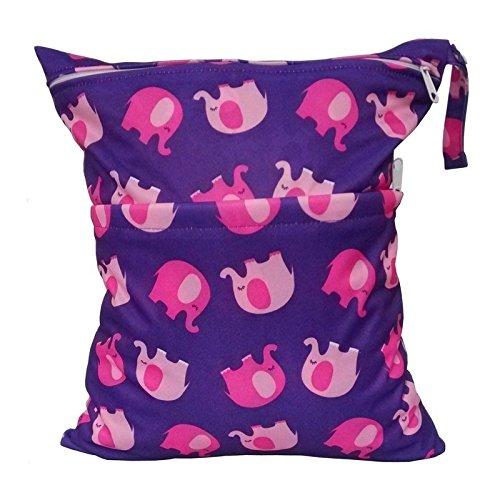 Iyhouse Wickeltasche für Babys, wasserdicht, mit Reißverschluss, wiederverwendbar, Stoffwindeltasche, Lila Elefant, 28cm x 30cm