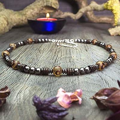 Collier Taille 47-55cm Style Tibétain Homme/Femme perles pierres naturelles Agate Ø8mm, Hématite Bois Cocotier/Coco Acier inoxydable COLLITIBA18