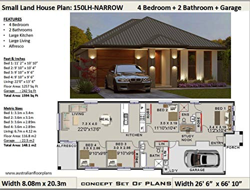 Small Lot - Narrow Land House Plan - 4 Bedroom 2 Bathroom ...