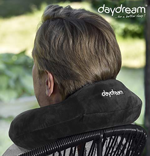 daydream N-5362 Reise-Nacken-/Reise-/Nackenstützkissen / Nackenhörnchen, mit Kopfstütze aus Memory Foam, schwarz