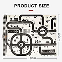 HOTEU 130*100 Kids Play Mat City Road Buildings Parking Map Game Scene Pad Educational Toys Playmats & Floor Gyms