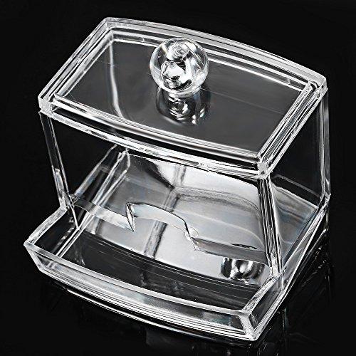 Bureau Mallette de maquillage clair carré en acrylique Bijoux Boîte de rangement organiseur pour cosmétiques Coton-tige Make Up Affichage de support