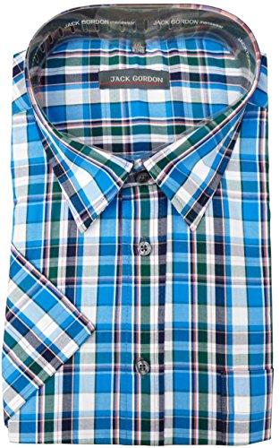 Herren Hemd von Jack Gordon, Kurzarm, Kentkragen auch Übergrößen Karo-fein-Türkis