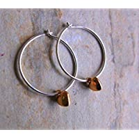 18mm Sterling Silver Hoop Earrings with Mini Rose Gold Hearts
