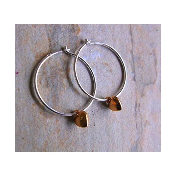 18mm Sterling Silver Hoop Earrings with Mini Rose Gold Hearts 51ErYLEJmkL