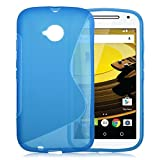 Moto E 2nd Gen Case, Ziaon(TM) S Line TPU Soft Silicon Gel Back Case Cover For Motorola Moto E2 4G 2nd Gen - Blue