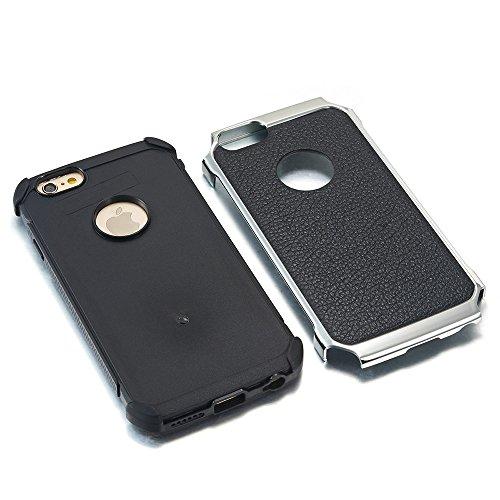 iPhone 6 Plus / 6s Plus Hülle, Alfort 2 in 1 Handyhülle Schutzhülle Hart Acryl + TPU + PU Leder Plattierung Litchi Case Cover Telefon Kasten Vollschutz Fashion Design Dual Use für Apple iPhone 6 Plus  Schwarz