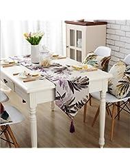 GL&G Europa y los Estados Unidos activos de impresión y teñido Western mesa bandera decorada mesa de cama de la bandera de la boda, el partido, el regalo Cuadro Runner,C,32*200cm