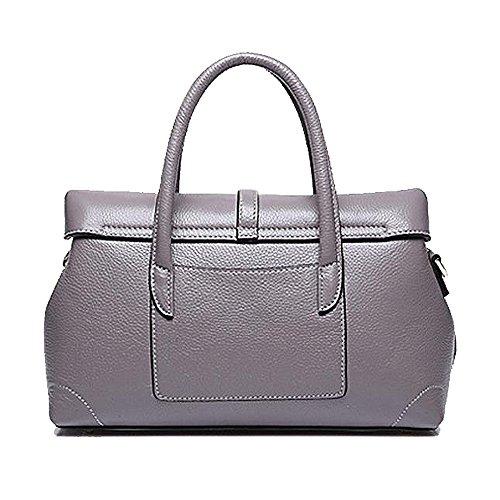 jieway di pelle per donna Custodia di pelle borsa sportiva per Donna Boston Borsa Borsa di spalla grigio