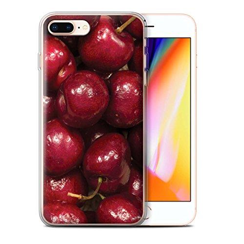 Stuff4 Gel TPU Hülle / Case für Apple iPhone 8 Plus / Himbeere Muster / Saftige Frucht Kollektion Kirschen