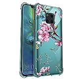 ZhuoFan Cover per Huawei Mate 20 PRO, Custodia Silicone Trasparente con Fiori Disegni Ultra Slim TPU Morbido Antiurto Angoli Rinforzati Protezione Bumper Case per Huawei Mate 20 PRO 7
