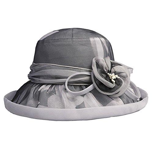 Shuo lan hu wai Silk Sonnenblende-Damen-Sonnenschutz, der UVschutz-Sommer-Ferien-Feiertags-Strand-Hut faltet (Farbe : Grau)