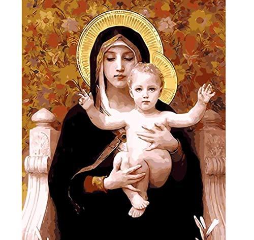 ayuxin Dekor Mutter Gottes Ölgemälde Bilder nach Zahlen Digitale Bilder Färbung von Hand einzigartiges Geschenk Dekoration Jungfrau Maria