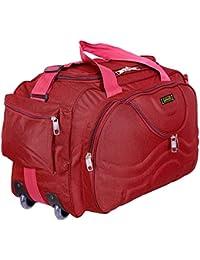 alfisha Unisex Lightweight Waterproof Synthetic Gala Red Luggage Travel Duffel Bag with Roller Wheels