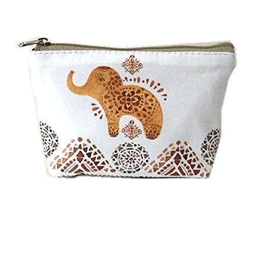 Hosaire 1X Monedero mujer niña cremallera,Patrón de bebé elefante Mini Monedero Bolsas para mujeres,para almacenar llaves,barra de labios,tarjetas size 13*10cm