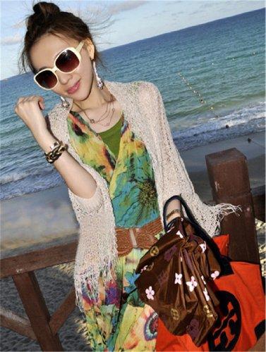 QIYUN.Z Blume Blumen Damen V-Ausschnitt Ärmellose Lange Maxi Strandkleid Hawaiian Kleid Aprikose 14