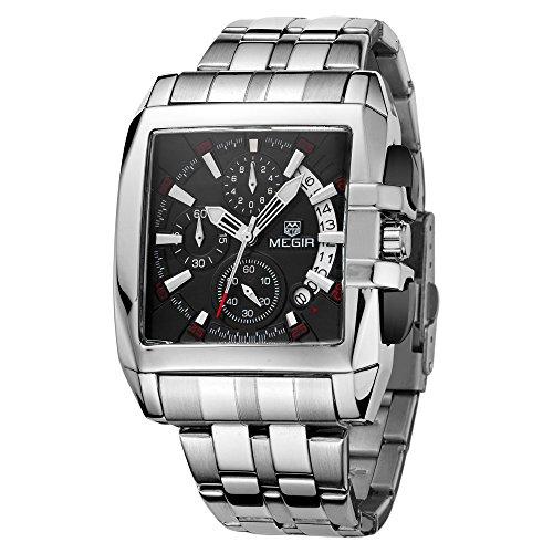 MEGIR Herren Armbanduhr Rechteck Uhrengehäuse analoge Quarzuhr Legierung Armband Armbanduhr