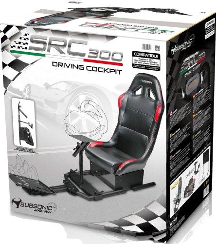 Subsonic - SRC 300 Driving Cockpit - Siège de course avec supports pour volant et pédalier - Multi-plateformes (PS4, PS3, Xbox One, Xbox 360, PC...)