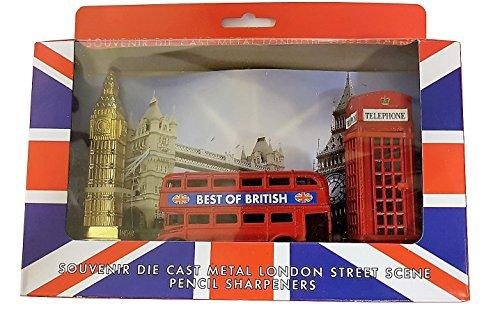 London Street Scene 3Anspitzer Set-Die Cast Metall Druckguss/UK Souvenir/Red Telephone Box/Routemaster Doppeldecker Bus/Big Ben/Union Jack Box/Schule Office Home British Geschenkidee Bus-boxen
