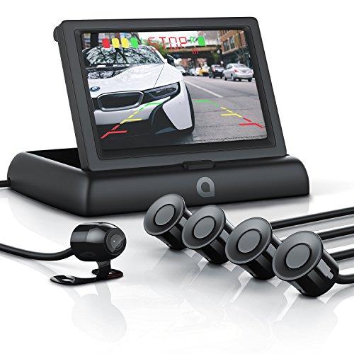 CSL - Rückfahrkamera mit Display Einparkhilfe Sensorsystem Set - Autokamera Rückfahrhilfe - 4,3 Zoll 10,922cm TFT-Monitor - Blickwinkel 135 Grad - hochwertige Sensoren-Technik - wasserdicht IP68 Kamera