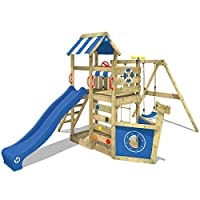 WICKEY Climbing Frame SeaFlyer Climbing Tower, Swing Set with Blue Slide and Lots of Accessories