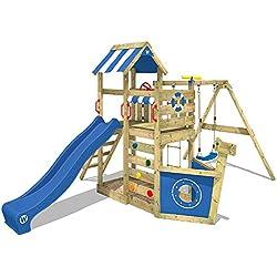 WICKEY Torre para SeaFlyer Torre de escalada con columpio, tobogán y muchos accesorios, tobogán azul + lona azul
