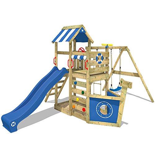 WICKEY Spielturm SeaFlyer - Klettergerüst für den Garten mit Schaukel, Strickleiter, blauer Plane, blauer Wellenrutsche…