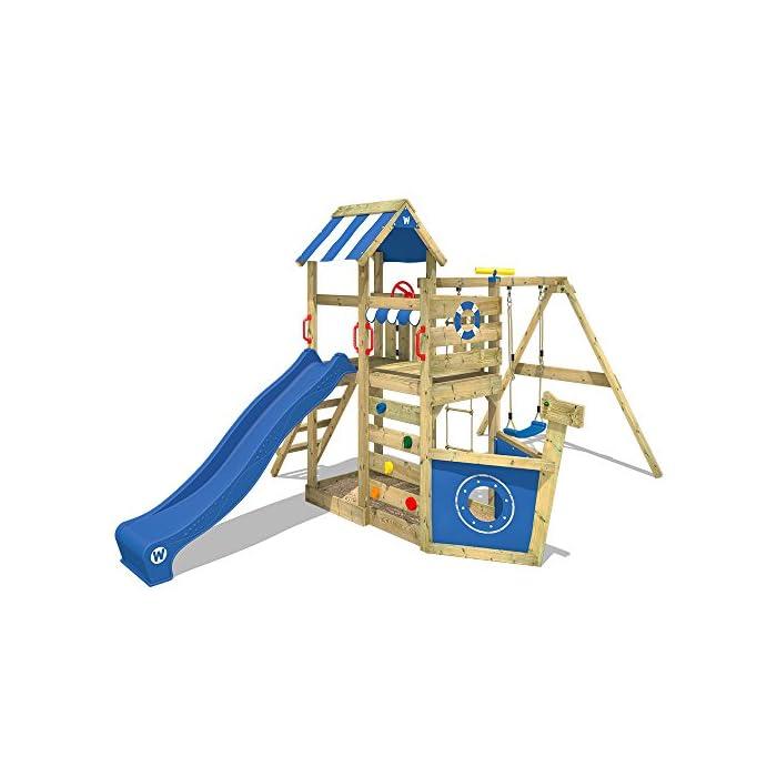 WICKEY Spielturm SeaFlyer Spielgerät Garten Kletterturm mit Schaukel, Rutsche und viel Zubehör 1