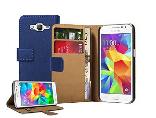 Membrane - Blau Brieftasche Klapptasche Hülle kompatibel mit Samsung Galaxy Core Prime (SM-G360F) + 2 Displayschutzfolien (Etui Samsung Galaxy Core 2)
