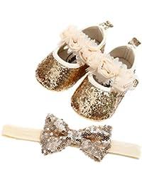 83af575056139 Auxma Chaussures de Bébé Bébé Fille Fleurs Chaussures en Cuir Doux Baskets  Glisser Seul Enfant pour