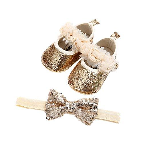 Auxma Babyschuhe für 0-18 Monate, Baby Mädchen Bequeme Anti-Rutsch Prinzessin Kleinkind Schuhe Krabbel Hausschuhe mit 1 PC Stirnbänder Haarband (13cm/12-18 M, Gold) (Gold Baby Schuhe Mädchen)
