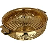 Rustik Craft - Vintage to Vogue Traditional Brass Vessel for Home Decor(Gold, 760 g, Diameter: 10-inch, Height: 3.7-inch)