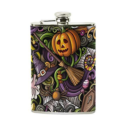Jeansame Mini-Flachmann, Edelstahl, 227 ml, für Damen und Herren, süßer Kürbis Hexe, Halloween, Erntedankfest, Herbst