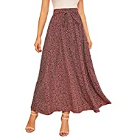 SheIn Women's Summer Ditsy Floral High Waist Self Tie Belted A-line Long Skirt Red M